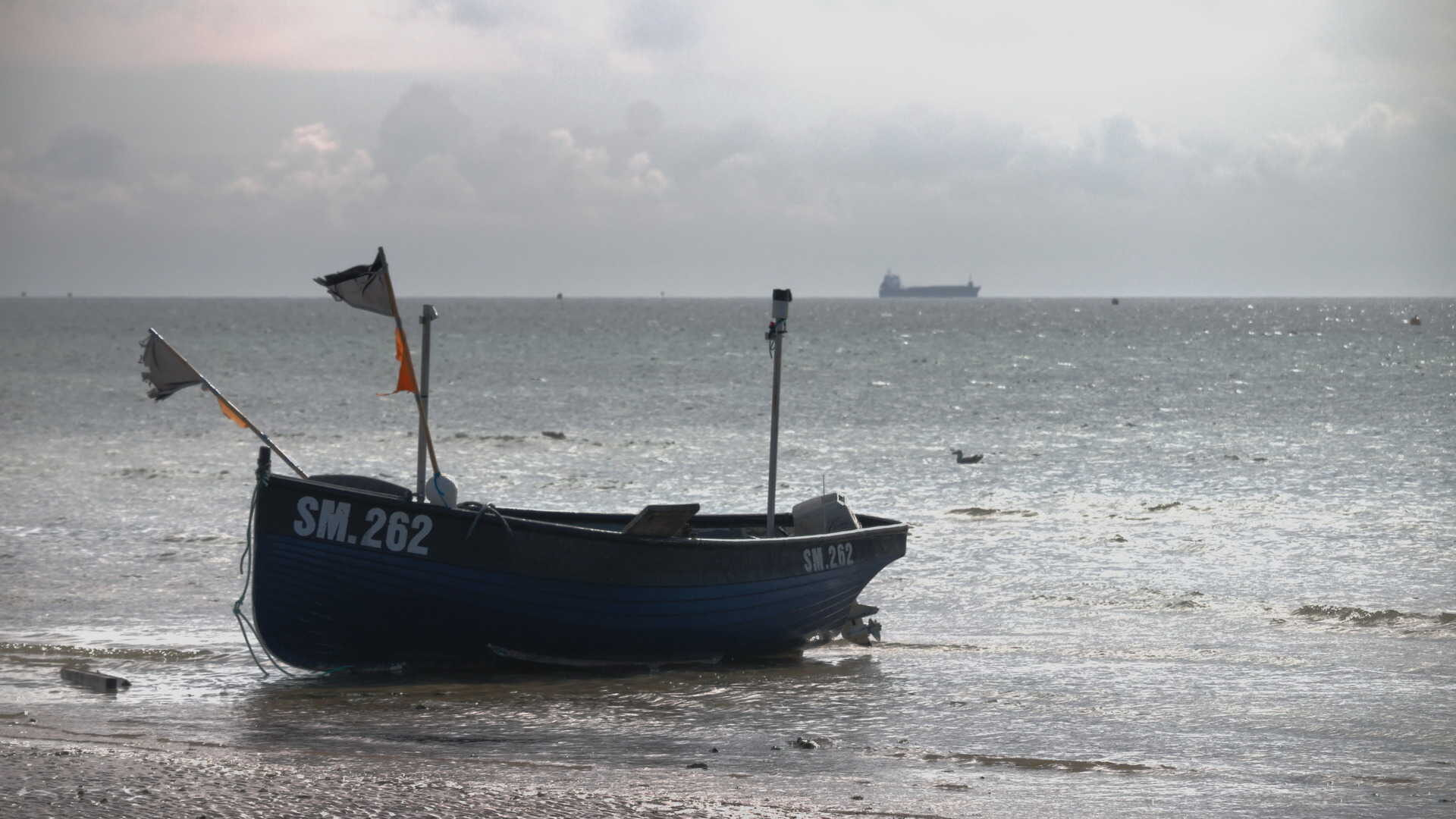 A small fishing boat called SM.262 with a large container ship in the distant background