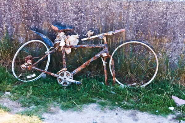 A very corroded bicycle rests in long grass against a wall.